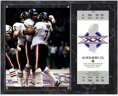Chicago Bears Super Bowl XX William Perry Plaque with Replica Ticket