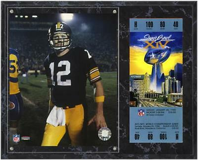 Pittsburgh Steelers Super Bowl XIV Terry Bradshaw Plaque with Replica Ticket