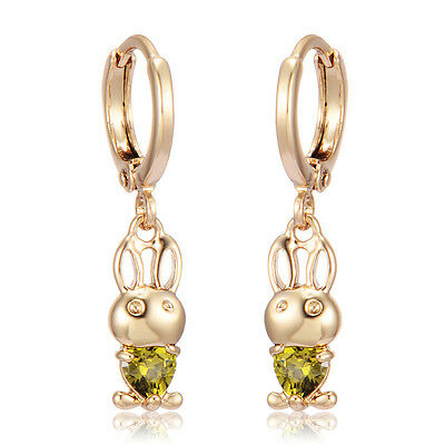 Girls Infant Dangle Earrings Rabbit Leverback Yellow Gold Plated Jewelry