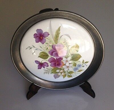 Tin and china plate, flowers hand painted, with support, from France