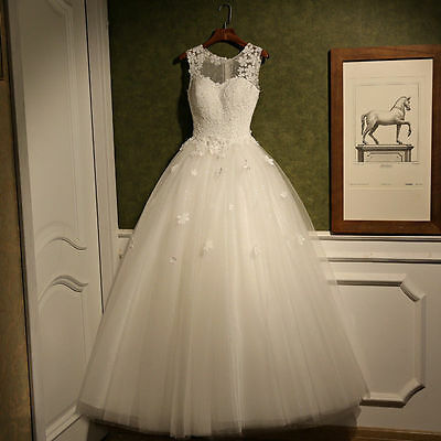 2016 New Lace White/Ivory Wedding Dress Bridal Gown Custom Size 6 8 10 12 14 16