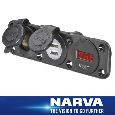 Narva HDRV Power H/D Triple Flush Mount Accessory / Dual USB /12/24V DC LED Volt