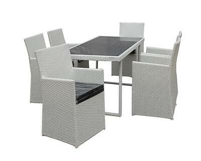 7 Piece Outdoor Wicker Garden White Dining Glass Table Top Furniture Setting
