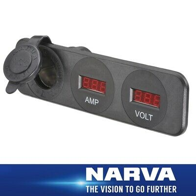 Narva HDRV Power H/D Triple Flush Mount Accessory /12/24V DC LED Amp & Volt Mete