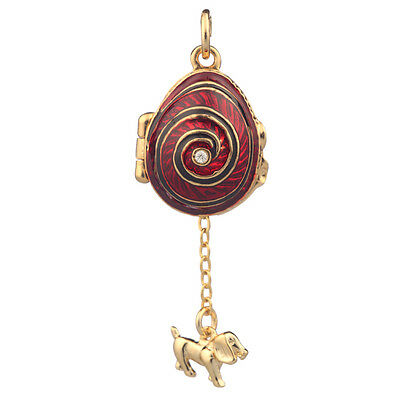 Faberge Egg Pendant / Charm with Dog 2.1 cm red #2801-02