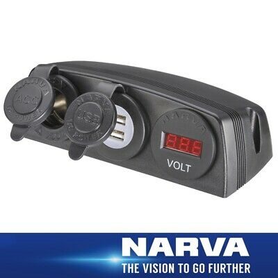 Narva HDRV Power H/D Surface Mount Accessory /Dual USB /12/24V DC LED Volt Meter