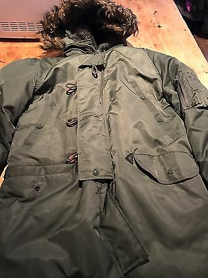 Genuine Extreme Cold Weather Parka Coat Green Small