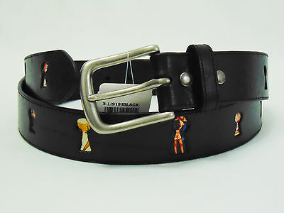 Leather Island by Bill Lavin Tribute to Pin Up Girls Black Leather Belt Sz 42