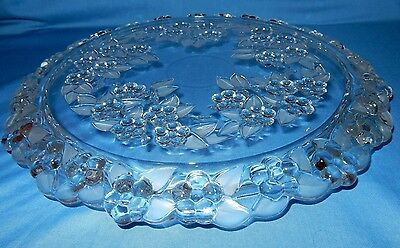 "Mikasa Carmen Crystal Frosted Leaves Flowers Cake Serving Plate 13 1/4"" Platter"
