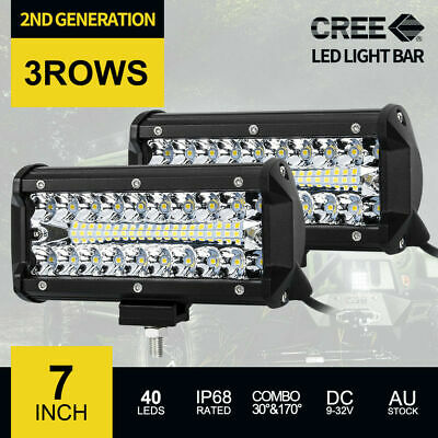 2x 7inch CREE LED Light Bar SPOT FLOOD Off Road Fog Driving Work Bars 12V 24V