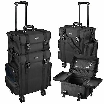 Pro Black 2in1 Soft Sided Rolling Makeup Case Train Bag w/Drawer Artist