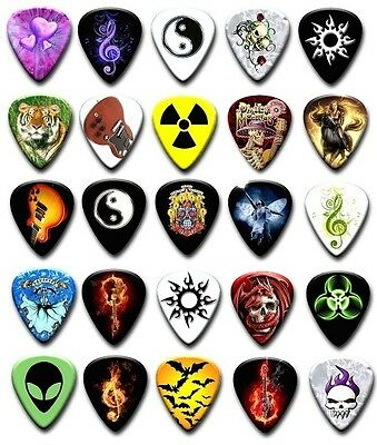 25 Mixed Guitar Picks ~ Plectrums ~ Plectra ~ Printed Both Sides  FREE POSTAGE