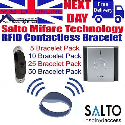 Salto Access Control Bracelet 1kb Pack Of 5 - 10 - 25 - 50 In Blue RFID Bracelet