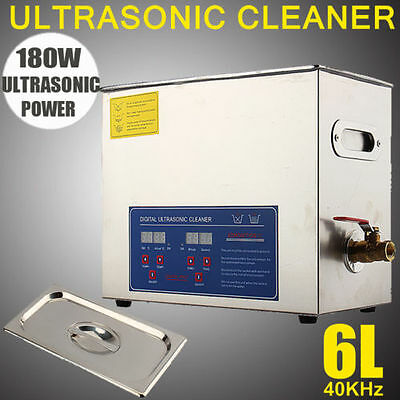 New Stainless Steel 6L Industry Heated Ultrasonic Cleaner Heater w/ Timer US UPS