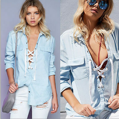 Lady Women Lace up Loose Top Long Sleeve Blouse Casual Shirt Cover Up Pocket M