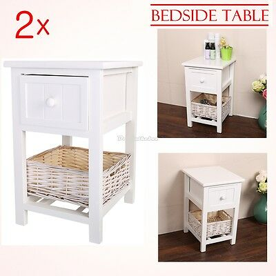 Pair of White Shabby Chic Bedside Unit Tables Drawers Cabinet + Wicker Storage