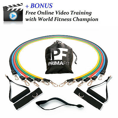 Resistance Exercise Bands Set Training Video PrimaFit Stretch Heavy Fitness Gym