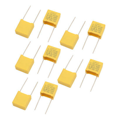 10Pcs Metal Axial Leads Safety Polyester Film Capacitor 310VAC 0.15uF Yellow