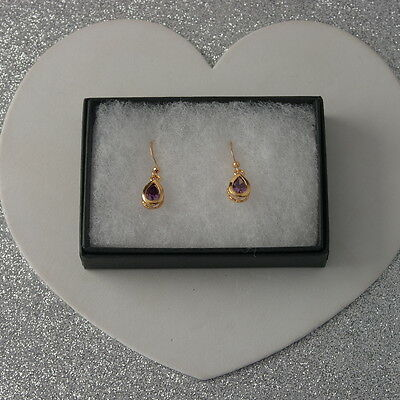 Nice Yellow Gold Plated Earrings With Amethyst 1.3 Gr. 2.8 Cm. Long In Gift Box