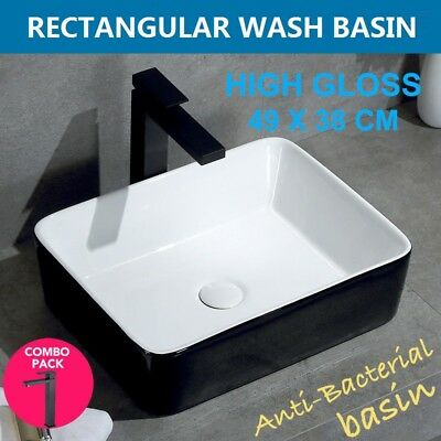 Ceramic Rectangle Square Above Counter Modern Basin Bowl Sink Black & White
