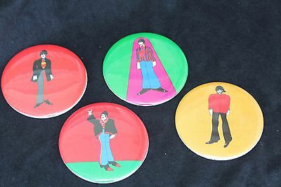 """Vintage 1968 THE BEATLES Yellow Submarine Set of 4 Buttons 3 1/2"""" Made England"""