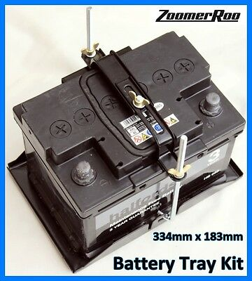 Kit Car Battery Tray & Adjustable Hold Down Kit 334mm x 183mm Universal (H)