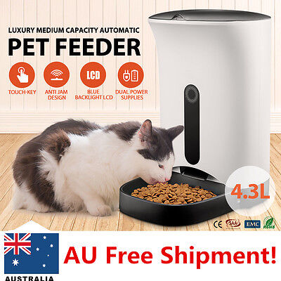 AU! 4.3L LCD Display Electronic Automatic Pet Feeder Dispenser for Dog Cat White