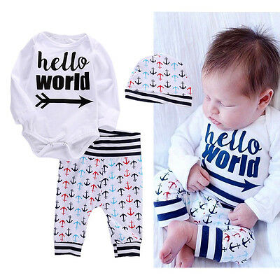 Newborn Toddler Baby Boys Girls Clothes Tops Romper +Long Pants Hat Outfits Set