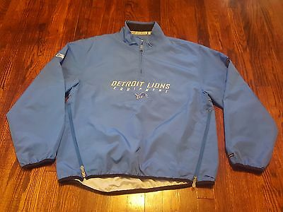 Detroit Lions Men s Reebok NFL Equipment Pullover Jacket Medium 1 4 Zip Blue 4261f7e29