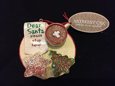 COOKIES & MILK for SANTA Christmas Ornament By Midwest CBK**FREE SHIPPING!!
