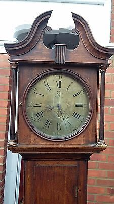 18C Engraved Brass Face Thirty Hour Oak Longcase Clock By Hutchinson Worksop
