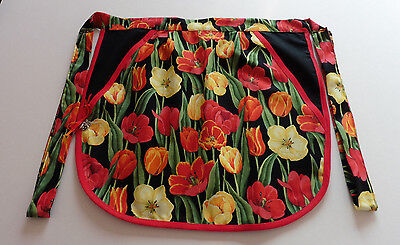 Hand Made: Tulip Time : Pocket Half Apron:  Gift:pegs/knitting/utility