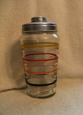Vintage Hocking Glass Banded Rings Decorated Multi-Color Cocktail Shaker