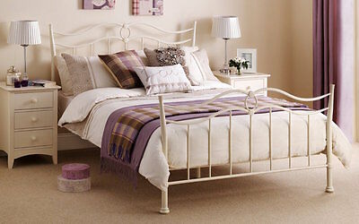 Ribbon Effect Metal Bed Frame Stone White Shabby Chic Bedstead
