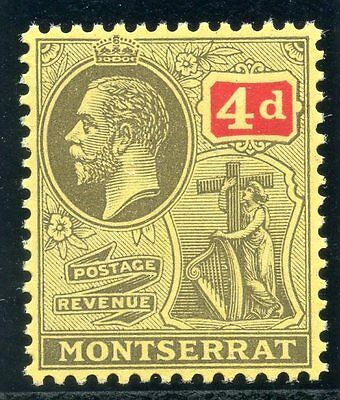 Montserrat 1916 KGV 4d grey-black & red/pale yellow superb MNH. SG 54. Sc 48.