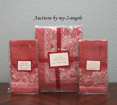 Williams Sonoma Christmas WINTER PINECONE Jacquard Tablecloth+8 Napkins Set RED