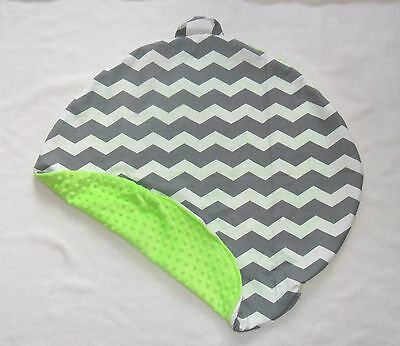 Gray Chevron and Lime Green Minky Dot Pillow Cover Fits Boppy Newborn Lounger
