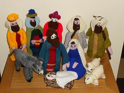Handmade Hand Knitted Christmas Nativity Holly Family Set