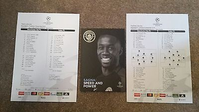 Manchester City v Celtic Champions League 2016-17 with two Uefa teamsheets