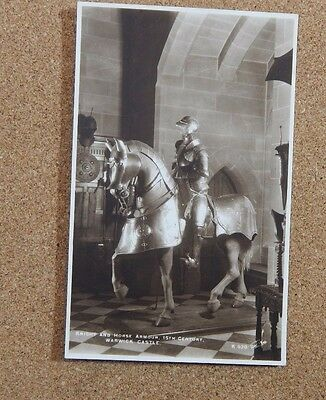 Warwick Castle 16th Century knight and Horse Armour Tucks postcard Unposted b2