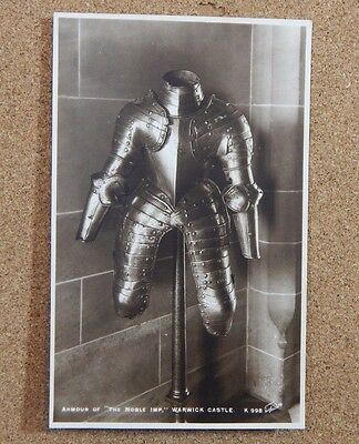 Warwick castle Armour of The Noble Imp Real photo Walter scott card. Unposted b2