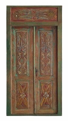 Balinese Original Antique Green Natural Red Etched Timber Hand Carved Door - 9A