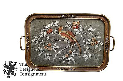 Victorian Antique Hand Carved Tea Tray Glass Mesh Painted Bird & Branches Footed