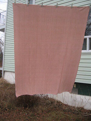 "#B6 vintage  rag woven blanket catalogne pink white cotton blend 64"" x 87.5"" in"