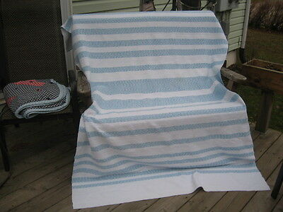 "#385 vintage Beautiful & rag woven blanket catalogne 53.5"" in x 85.5"" inches"