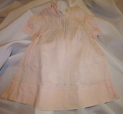 Pink Vintage Baby Dress Hand Made Philippines Pin Tucks Embroidery Accent