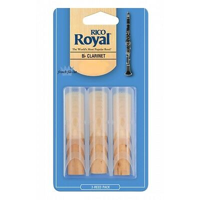Royal By D'Addario (Rico Royal) Bb Clarinet Reeds - 3 Pack, Strengths 1.5 - 3