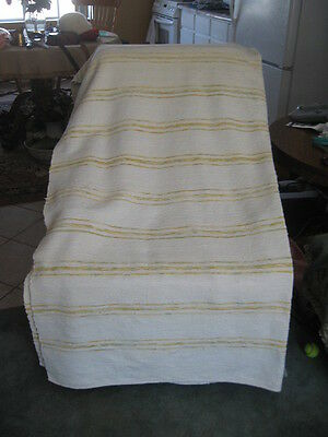"#378A  vintage BLANKET RAG WOVEN CATALOGNE cotton 62.5"" x 84"" inches"