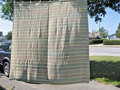 "#B13 vintage BLANKET RAG WOVEN CATALOGNE TREAD COTTON JERSEY MATERIAL 84"" X88""IN"
