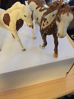 Schleich Horses Lot Of 3 Brown And White